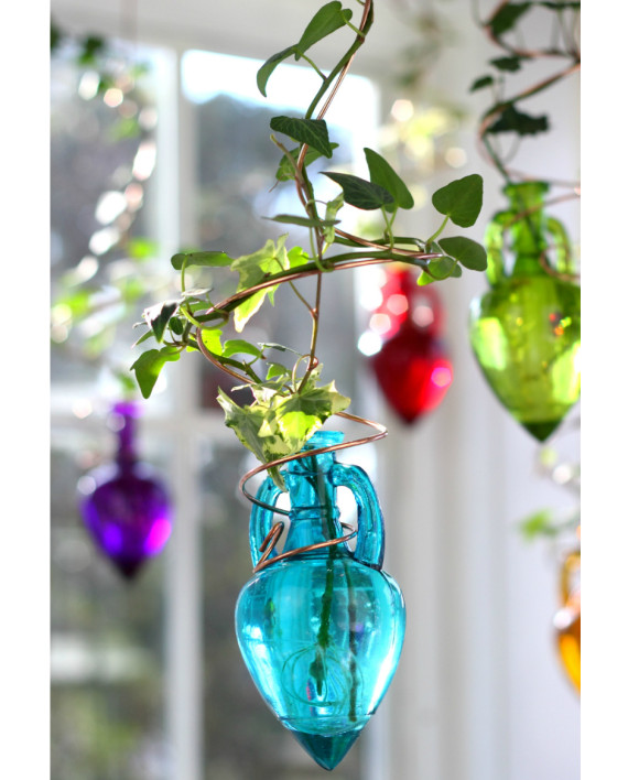 Spiral Hanging Water Garden Teal Blue Live Plants