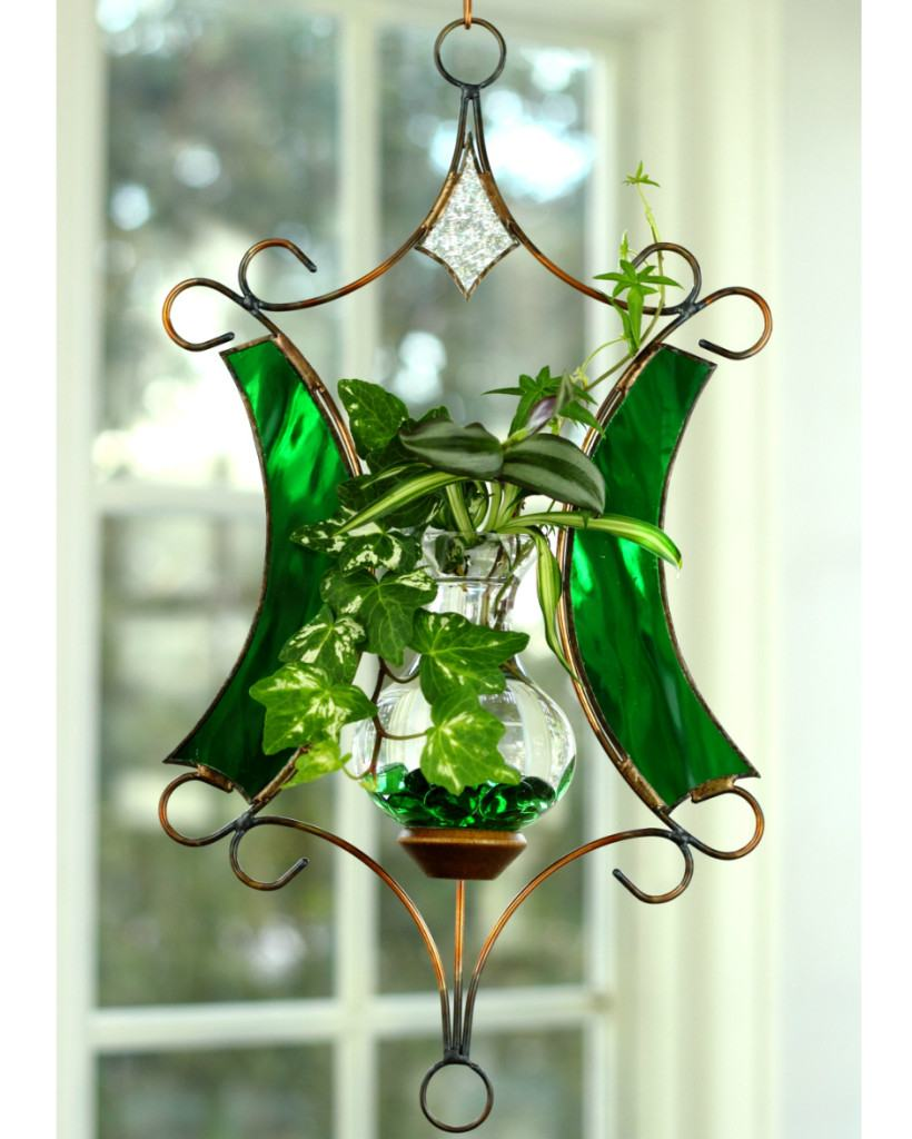 Stained Glass Tranquility Hanging Water Garden™, Green