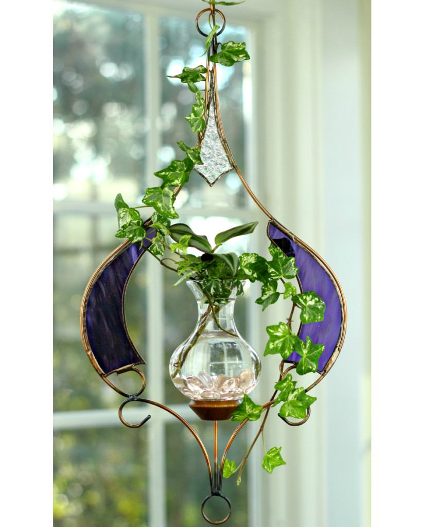 Stained Glass Raindrop Hanging Water Garden™, Purple [Live