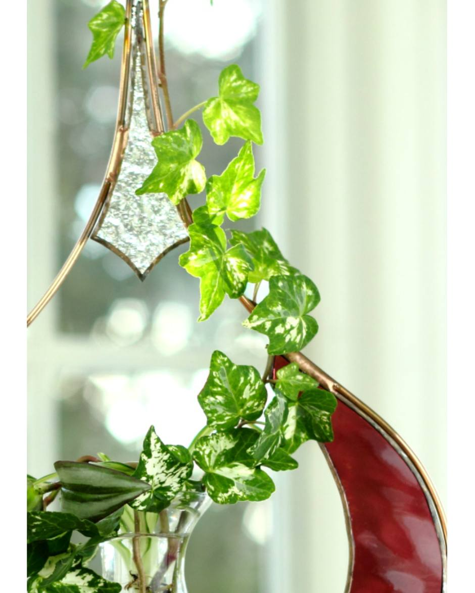 Rose Garden Creations: Stained Glass Raindrop Hanging Water Garden™, Rose [Live