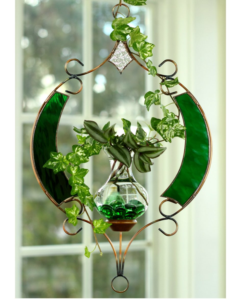 Stained Glass Fancy Round Hanging Water Garden Green Live Plants Included Vermont Nature