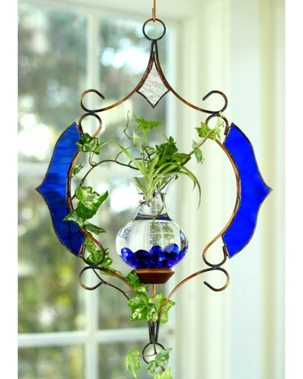 Stained Glass Victorian Hanging Water Garden Blue Live