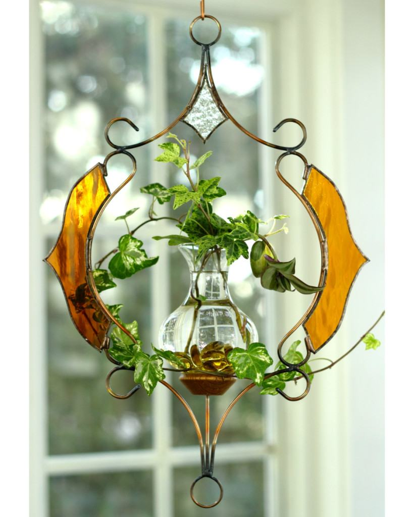Stained Glass Victorian Hanging Water Garden™, Amber [Live