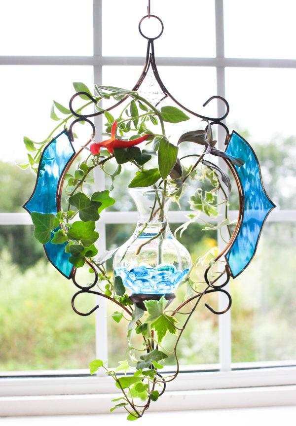 Limited Edition Teal Victorian Hanging Water Garden Live