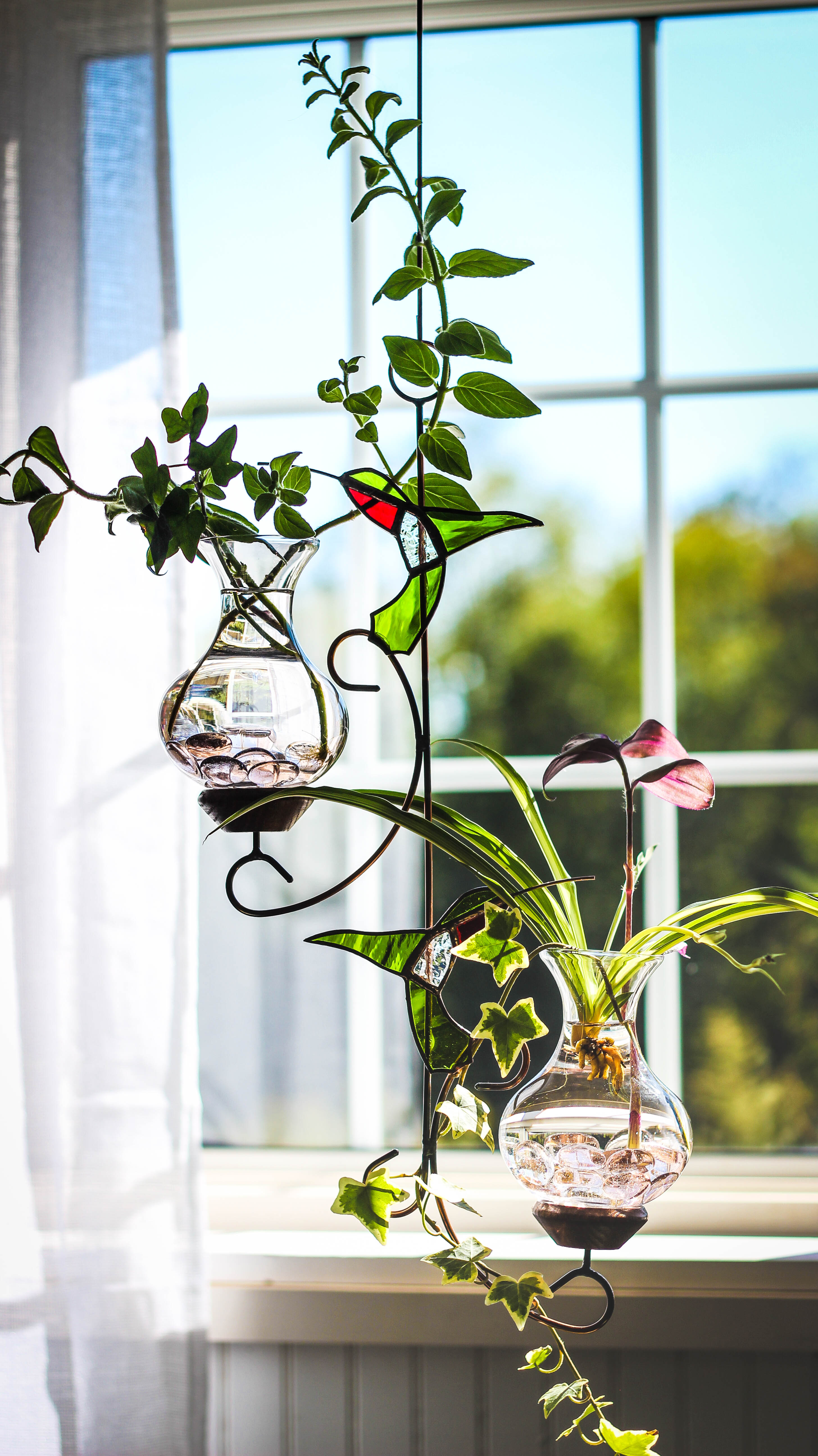 Limited Edition Green Stained Glass Double Hummingbird