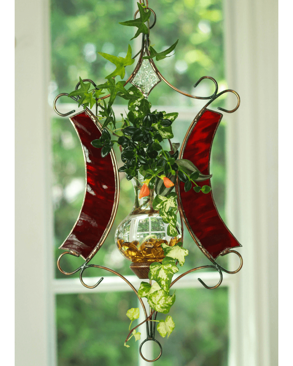 Red Stained Glass : Limited edition stained glass tranquility hanging water