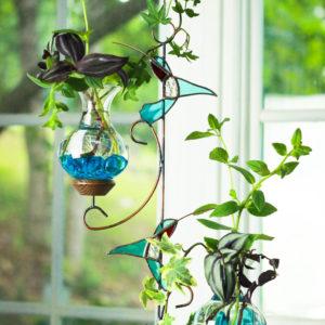 hanging water garden teal hummingbird
